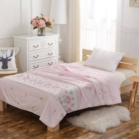 CLOVERLOVE高支全棉AB版夏被空调被 1.5*2.0-粉色*甜心 礼袋装