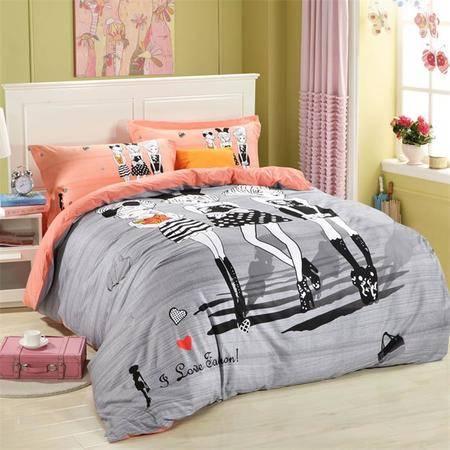 Cloverlove床上用品大版印花全棉AB版活性印染四件套-致青春包邮