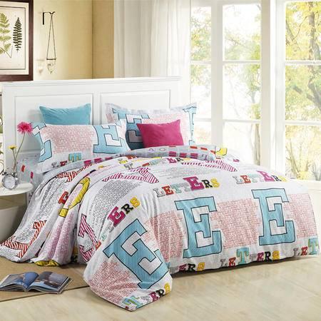 CloverLove全棉环保印染床单枕套被套4件套-爱的猜想床上用品包邮