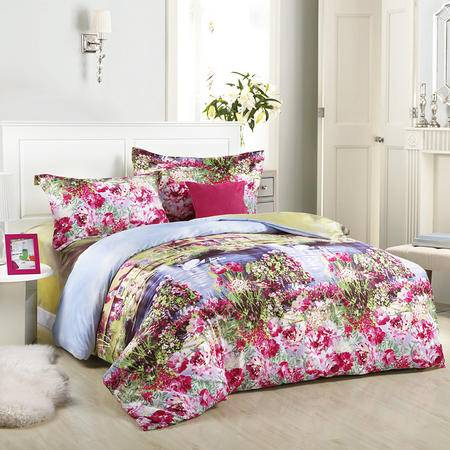 Cloverlove床上用品全棉高密活性印染AB版床单式四件套-晴朗包邮