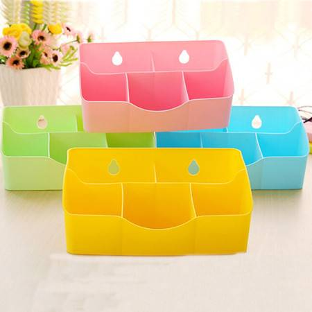红兔子 桌面遥控器收纳盒 时尚防水化妆品文具分格整理盒 塑料杂物盒
