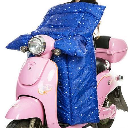 耀点100 电动车连体挡风被摩托车挡风罩双面防水一体式护膝被 蓝色水珠