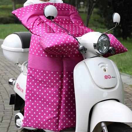 耀点100 电动车连体挡风被摩托车挡风罩双面防水一体式护膝被 红底白圆点 羽纱里子