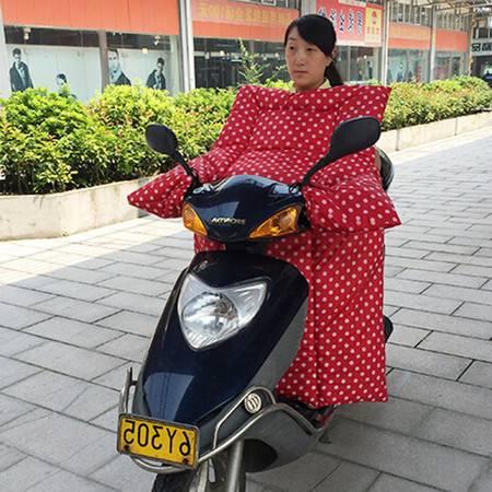 耀点100 电动车连体挡风被摩托车挡风罩双面防水一体式护膝被 红底白圆点
