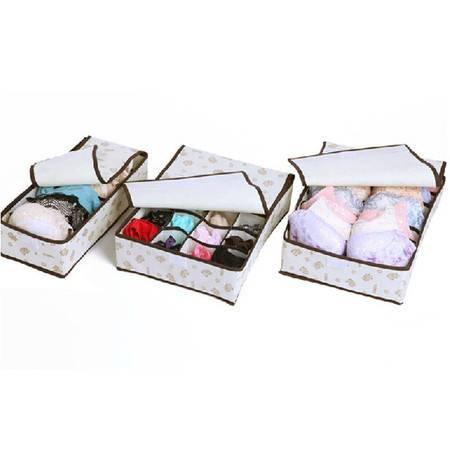 红兔子韩版小熊内衣文胸袜子有盖收纳盒收纳箱袋三件套
