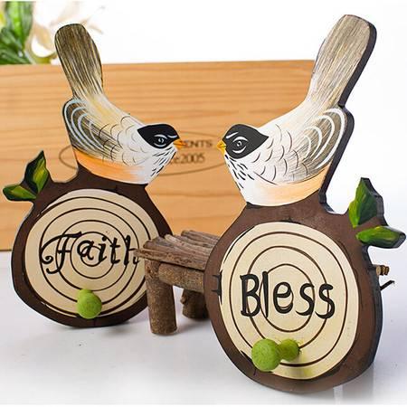 欧式彩绘家居装饰品木质小鸟树桩造型墙面挂钩衣帽钩