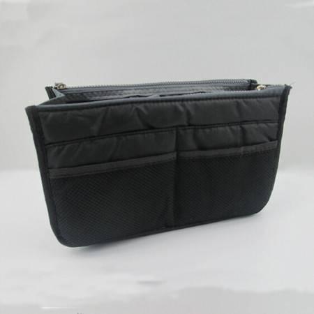 红兔子 化妆包 双拉链包中包 加厚多功能洗漱包 双手提收纳包 黑色