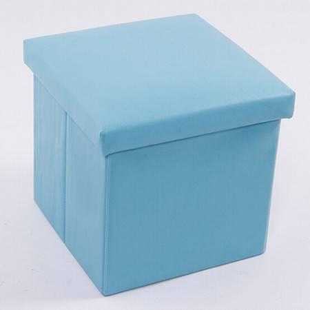 红兔子 PU皮收纳凳 储物凳 换鞋凳 收纳箱 蓝色