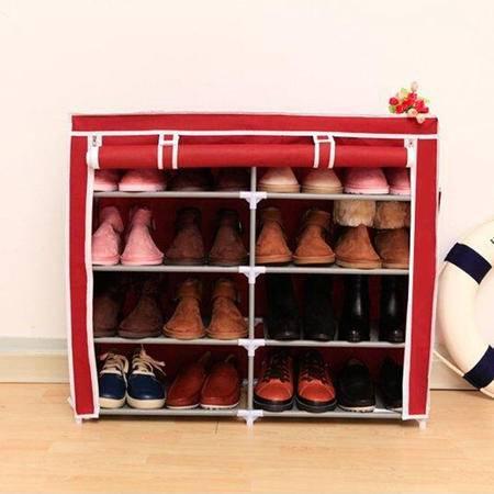 红兔子创意收纳双排五层四格简易鞋柜宜家多功能无纺布防尘鞋橱鞋架 酒红色