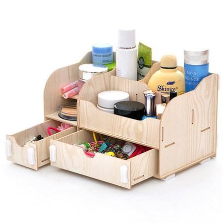 红兔子实用二代DIY一大一小A款双抽屉木质收纳盒白色