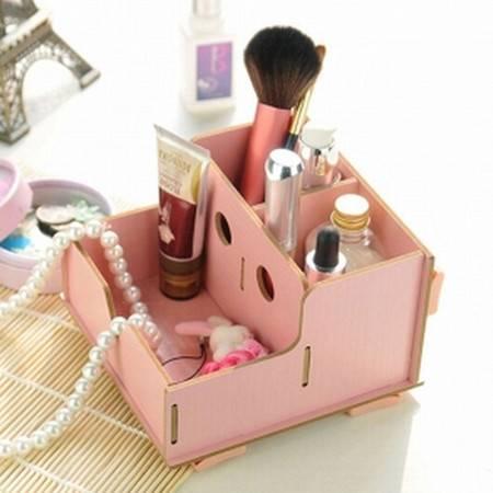 红兔子实用二代DIY镂空木质收纳盒 化妆盒粉色