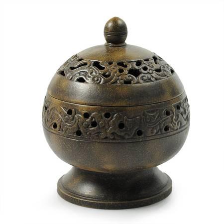 紫砂香炉镂雕转经炉盘香沉香檀香香道