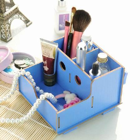 红兔子实用二代DIY镂空木质收纳盒 化妆盒蓝色