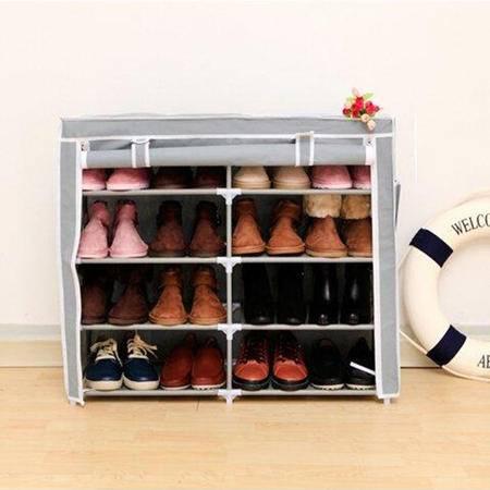 红兔子 创意收纳双排五层四格简易鞋柜宜家多功能无纺布防尘鞋橱鞋架 银灰色