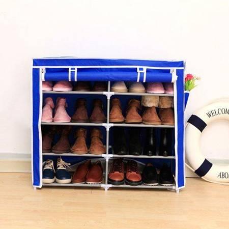 红兔子创意收纳双排五层四格简易鞋柜宜家多功能无纺布防尘鞋橱鞋架 深蓝色