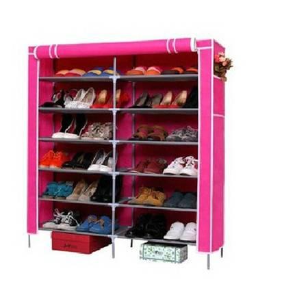 红兔子宜家无纺布鞋柜 七层双排大号鞋柜 玫红色
