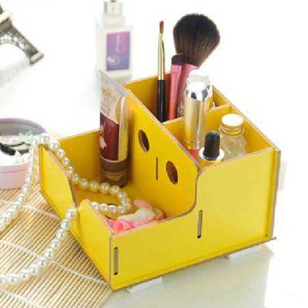 红兔子实用二代DIY镂空木质收纳盒 化妆盒黄色