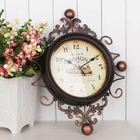红兔子地中海风格复古工艺铁艺挂钟 现代家居静音铁艺术时钟