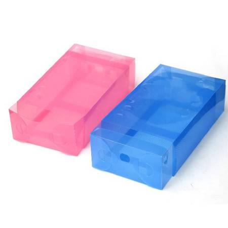 红兔子抽屉式鞋盒加厚透明鞋盒镂空款 紫色10只装