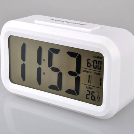红兔子 夜光 懒人 静音时钟 电子钟 光感闹钟 贪睡 聪明钟 时尚 LED闹钟 白色