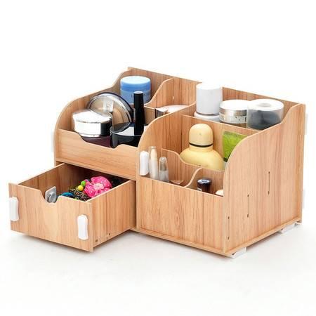 红兔子实用二代DIY单抽屉木质收纳盒/化妆盒--柚色