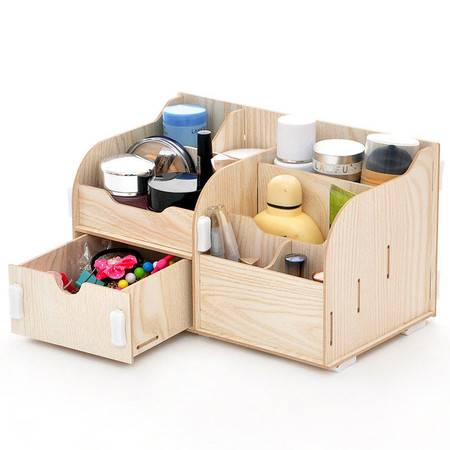 红兔子实用二代DIY单抽屉木质收纳盒/化妆盒(AJ017)--白色