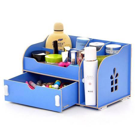 红兔子实用二代DIY开侧窗大抽屉木质收纳盒/化妆盒--蓝色