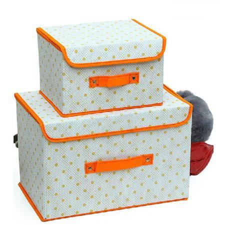友纳 点子纹收纳整理箱多功能可折叠收纳箱收纳盒(大号)橘色