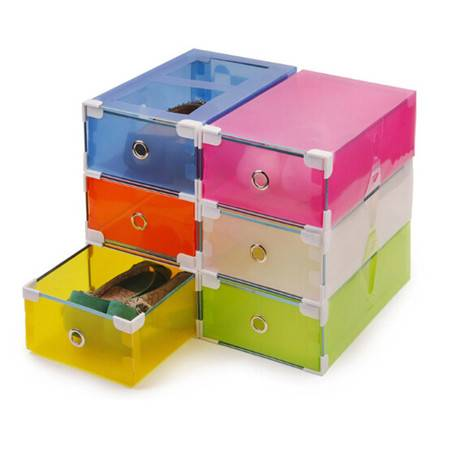 星空夏日 一只装金属包边塑料抽屉鞋盒女款 颜色随机
