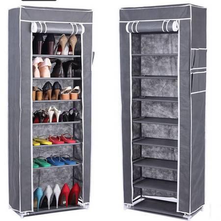 红兔子十层加固钢架整理收纳男女鞋柜十层鞋架 灰色