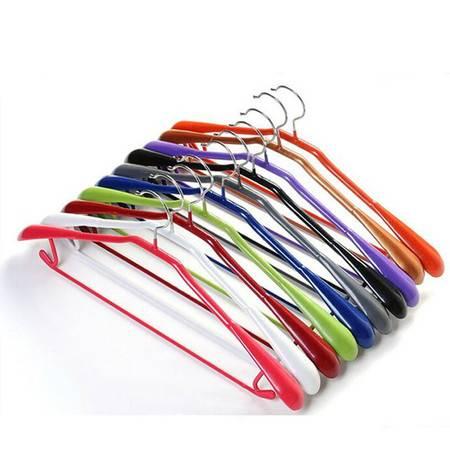 红兔子 10个装韩版宽肩浸塑防滑衣架 花杆浸塑干湿两用衣架 多功能 绿色