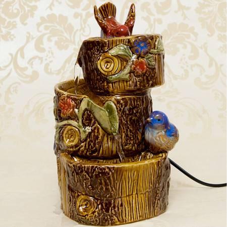 红兔子花鸟叠桩 流水摆件/风水摆件/陶瓷喷泉