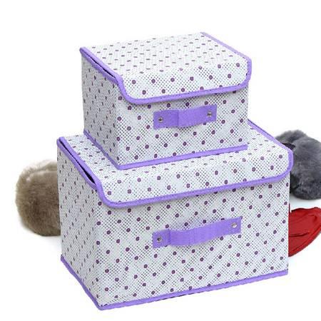 友纳 点子纹收纳整理箱多功能可折叠收纳箱收纳盒(大号)绿色