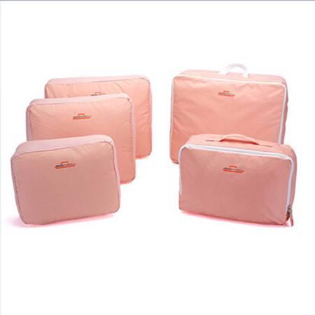 红兔子 韩版旅行包中包整理包/收纳袋-粉色(五件套)