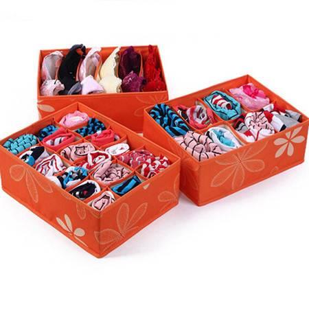 友纳 高品质牛津布印花收纳三件套--无盖(6格+8格+18格)内衣收纳盒(橘色)
