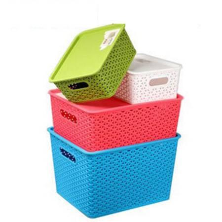 普润 塑料藤编储物篮中号 桌面收纳盒 脏衣服 玩具收纳箱 红色