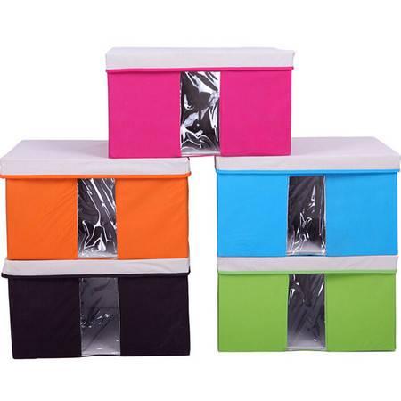 友纳 多功能透明窗可视 收纳箱 收纳盒 可视箱(大号)橘色