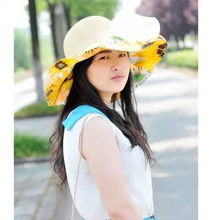 红兔子韩版大檐防晒太阳帽蝴蝶结沙滩帽 黄色