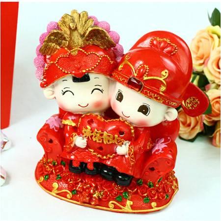 红兔子中国风婚庆摆件人偶摆件情人节礼物永结同心
