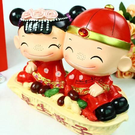 红兔子中国风婚庆摆件人偶摆/情人节礼物 早生贵子