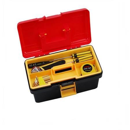 红兔子 双层工具箱 多用收纳箱 多功能塑铁工具箱 红色