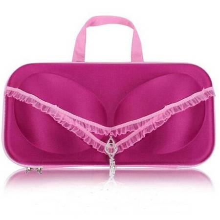 便携式旅行内衣文胸收纳盒 内衣收纳包防压收纳包蕾丝霓虹紫