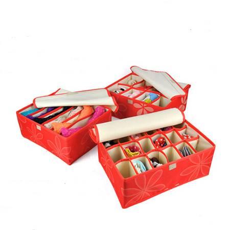 红兔子 高品质牛津布加高文胸内衣收纳盒 带盖收纳三件套红色