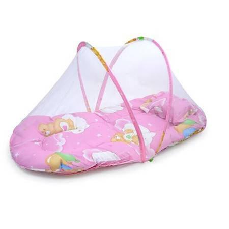 红兔子夏季-大号便携式折叠宝宝蚊帐带垫背枕头/婴儿蚊帐