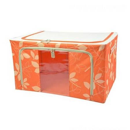 红兔子 66L橙色 牛津布钢架百纳箱 整理收纳箱 橙色树叶 单视 双开门