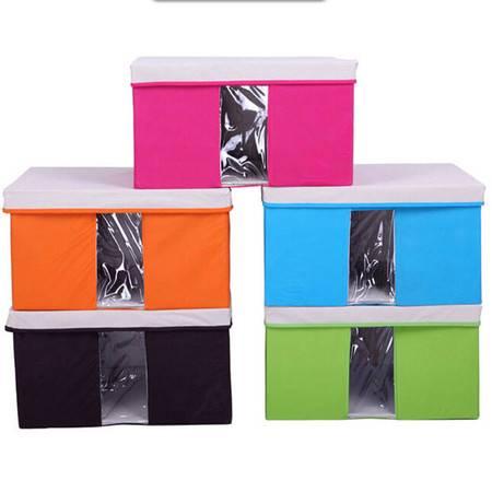 友纳 多功能透明窗可视三件套 收纳箱 收纳盒 可视箱(中号)玫红色
