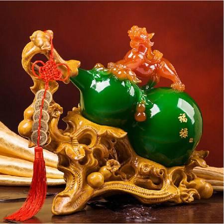 红兔子大号招财辟邪玉貔貅树脂工艺品 家居办公摆件 商务送礼品 绿葫芦