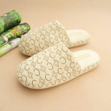 浪漫雪花情侣拖鞋 冬季居家棉拖鞋 软底毛绒地板家居室内拖鞋五个装 颜色随机