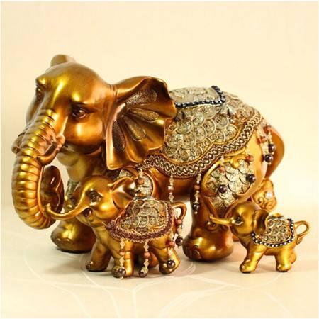 红兔子 镶钻金钱象母子 树脂摆件/装饰摆件/工艺摆件 两件套
