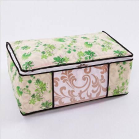 红兔子 加厚无纺布棉被收纳袋收纳箱储物袋 大号棉被收纳袋棉被袋套 绿色女人花 大号